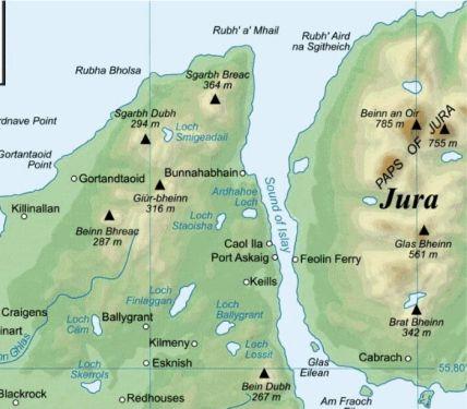 El estrecho de Sound of Islay , enfrente de la destilería