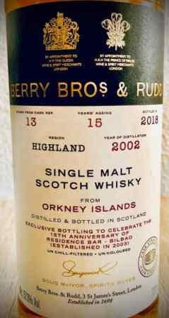 Highland Park 15 años embotellado por Berry Bros and Rudd, uno de los embotelladores independientes más antiguos y prestigiosos