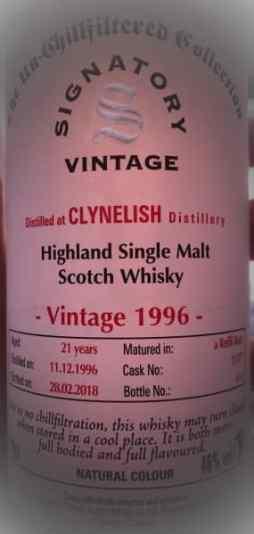Un tremendo Clynelish 21 yo Vintage 1996 de la colección de Un-Chillfiltered de Signatory Vintage