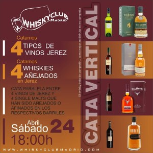 Cata vertical 4 tipos de Jerez y 4 whiskies