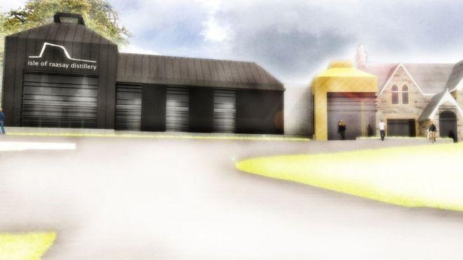 Das geplante Destilleriegebäude in einer künstlerischen Skizze