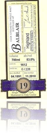 Rare Auld Balblair 1991 19YO C1612