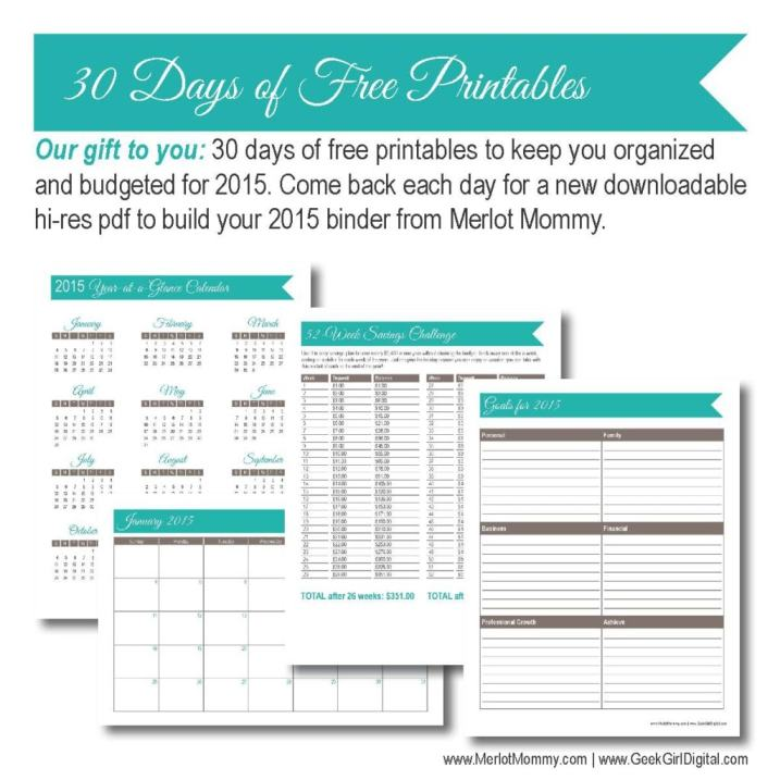 30 days of free printables from Whiskynsunshine.com and GeekGirlDigital.com
