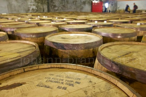 Bourbon barrels in the fill store, Tomatin Distillery