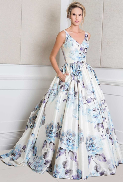 Wendy Makin Marilyn dress floral printed wedding dress with straps blue wedding dress