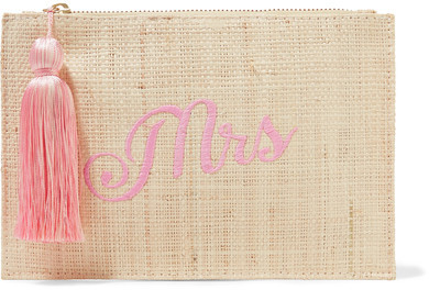 EXCLUSIVE AT NET-A-PORTER.COM. Kayu's 'Bridesmaid' pouch is a thoughtful way to ask loved ones to be a part of your big day. Hand-woven from straw, this style is embroidered in script and trimmed with a swishy pink tassel. It's spacious enough to hold beauty essentials.