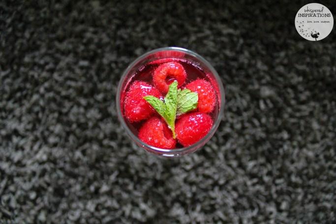 Top view of Raspberry Mint spritzer.