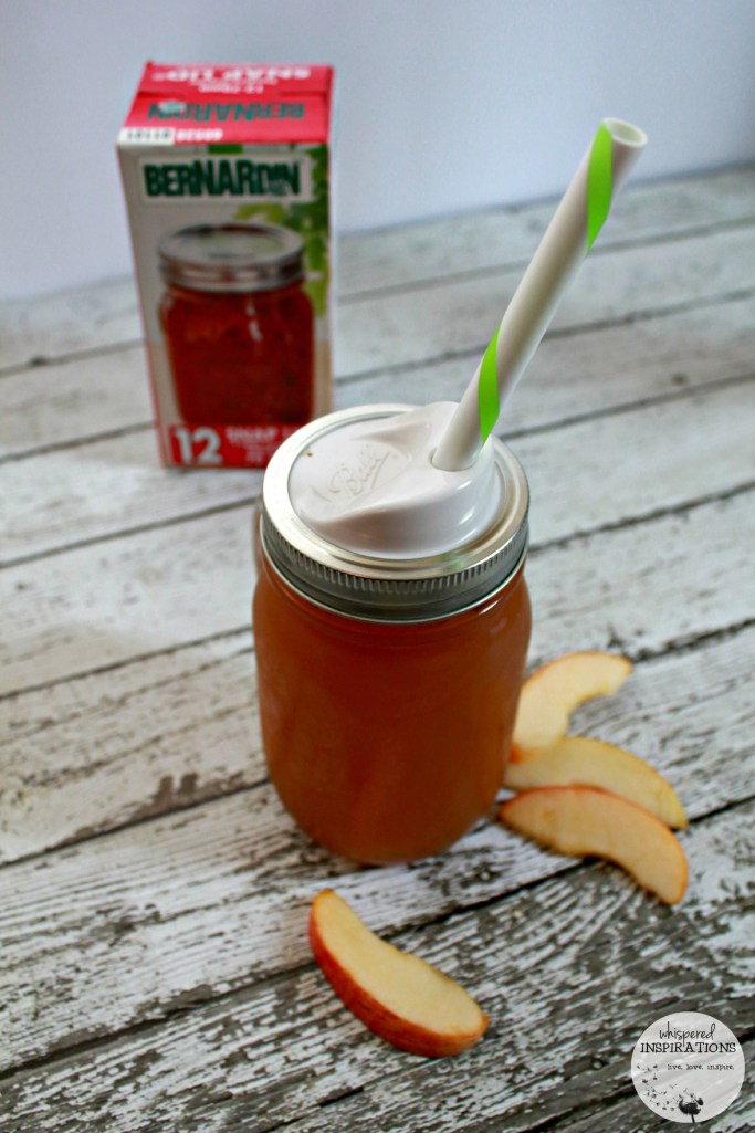 Apple cider recipe in a Bernardin mason jar with a lid for on the go.