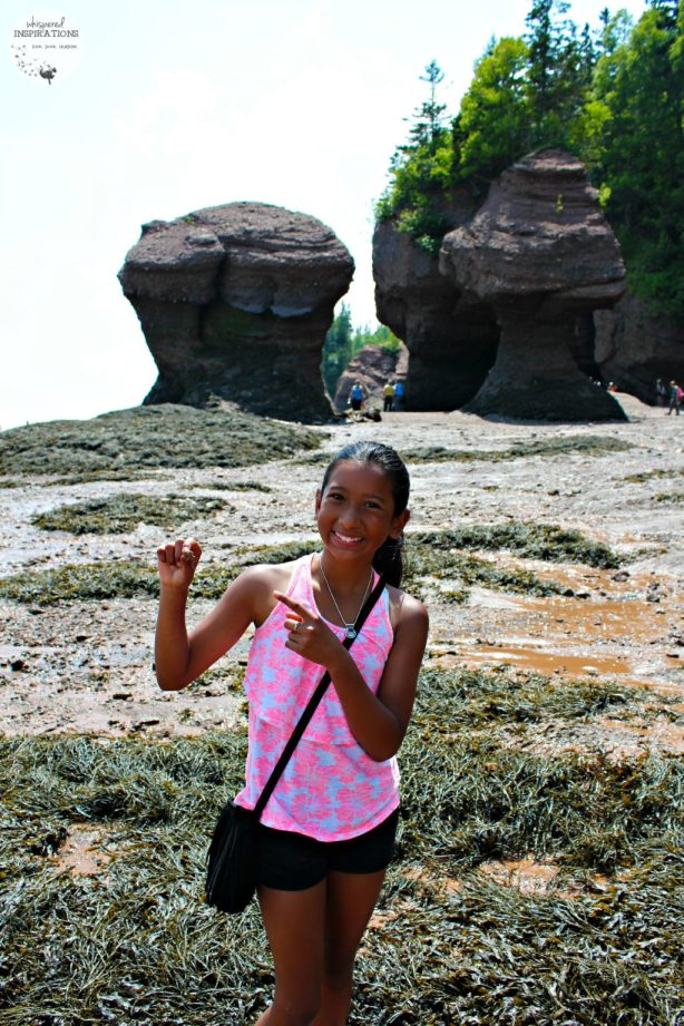 Young girl poses and points to a hermit crab in her hand. The Hopewell Rocks are in the distance.