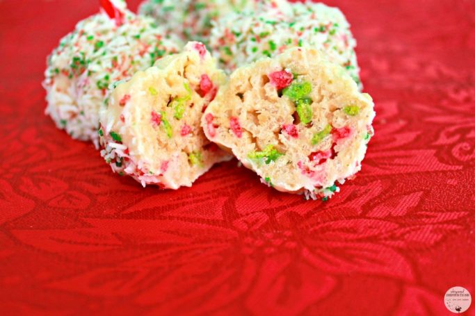 """Rice Krispies treat """"truffle"""" is split in half showing the festive colors and delicious consistency."""