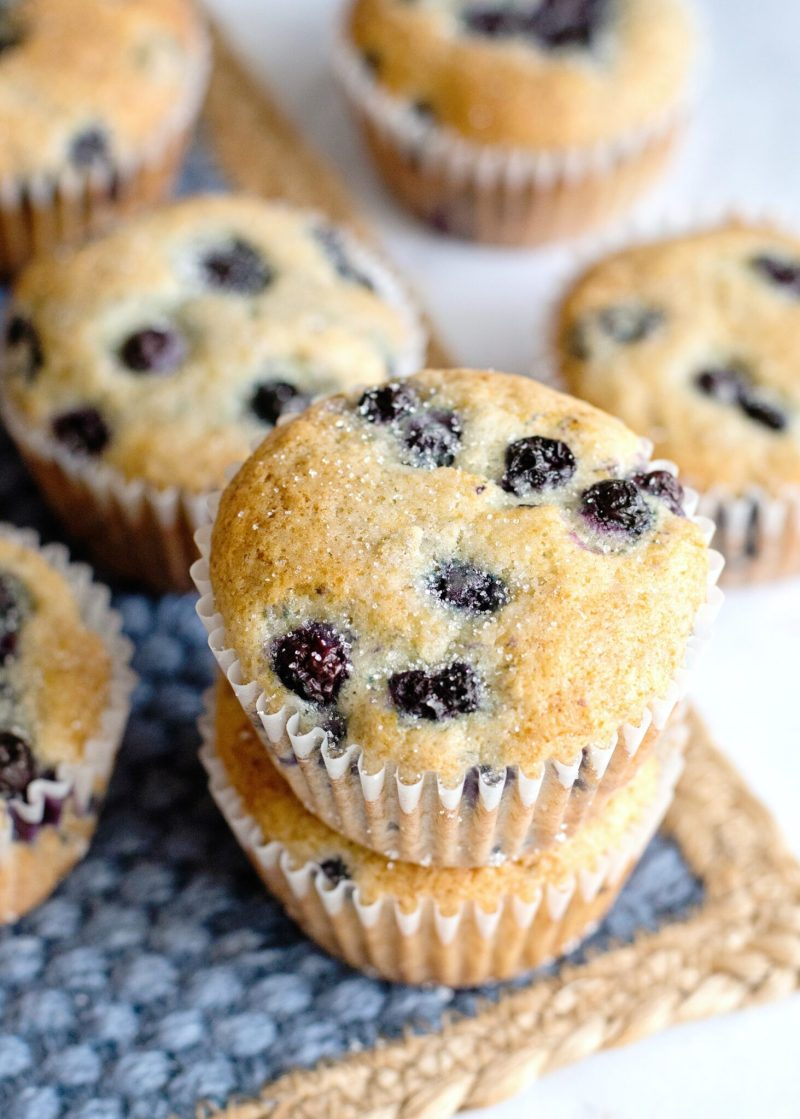 Top view of two blueberry pancake muffins.