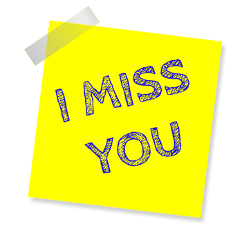 Image of a post it saying I Miss You. Something that always is apparent during mediumship sittings