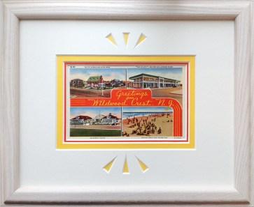 framing for Wildwood Crest vintage postcard