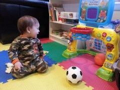 "Auntie Kim and Uncle Trevor got him a ""Smart Shots Sports Center"" - super sweet!"