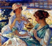 """Two Women Having Tea"" painting by Frank Desch"