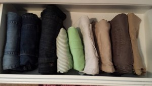 konmari pants shorts drawer
