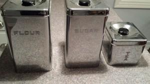 silver flour sugar tins