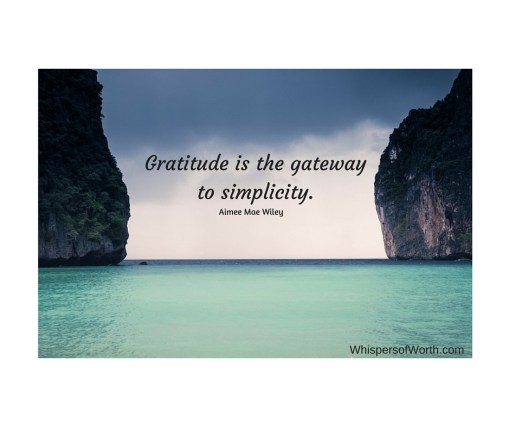 Gratitude is the gateway to simplicity