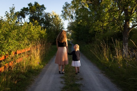 woman and daughter on walk