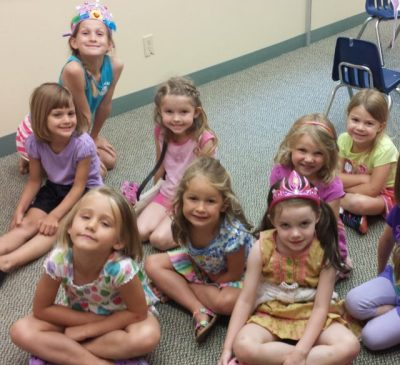 Here's a few of our princesses ready for story time.
