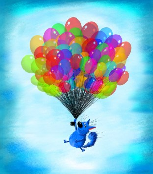 Cat Flying With Sheaf Of Balloons