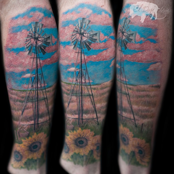 Rob Windmill SITE, flowers sunflower Helianthus field pink and blue sky by ryan el dugi lewis to be published 8.20.18