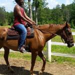 Haile's first ride on a horse