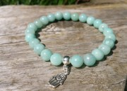 Amazonite Beaded Bracelet with Sterling Silver Hamsa Charm BWC 2 3