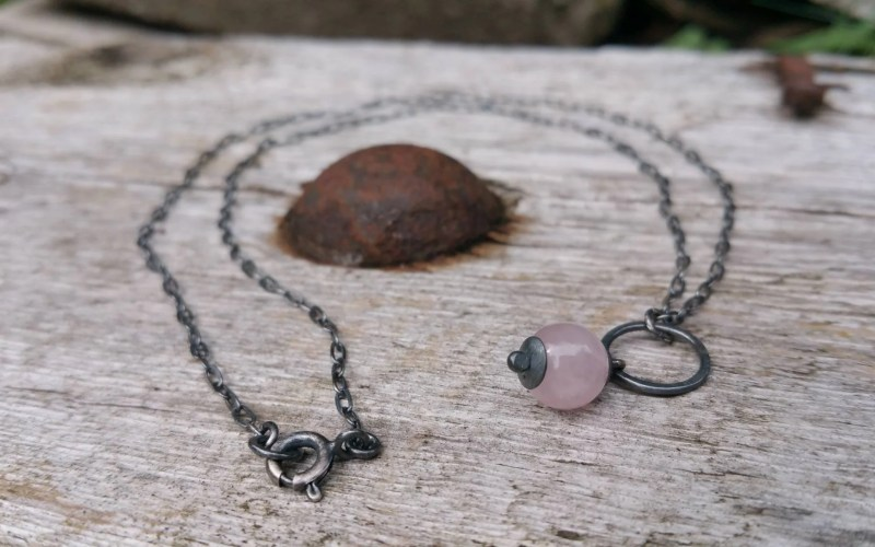 Oxidized Sterling Silver Rose Quartz Necklace