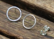 Silver Circle Stud Earrings 4