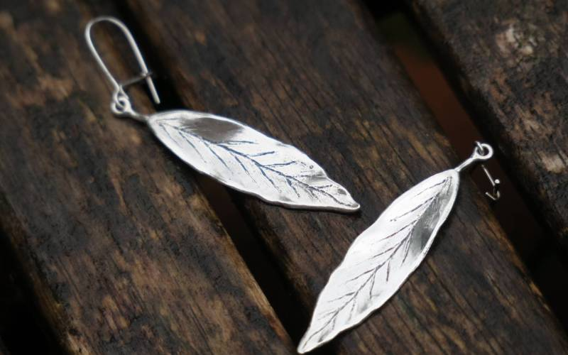 Silver Leaf Earrings 3