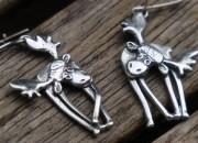 Sterling Silver Moose Earrings 13