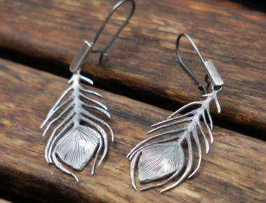 Silver Peacock Feather Earrings 1