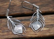 Silver Peacock Feather Earrings 3