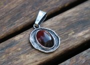 Raw Silver Amber Pendant Necklace 7