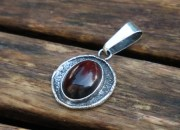 Raw Silver Amber Pendant Necklace 8