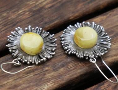 Silver Amber Flower Earrings 1