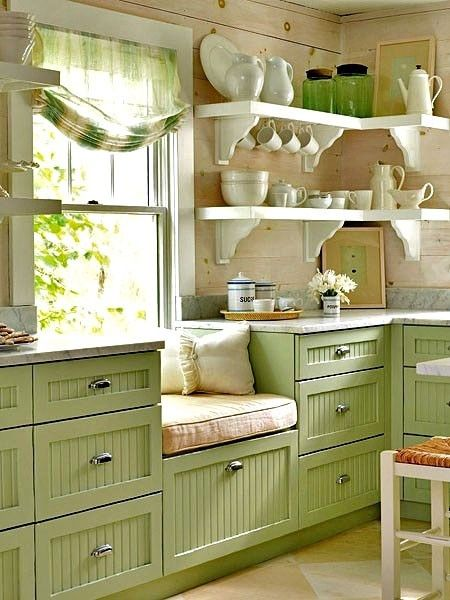 Cottage Style, Cottage Kitchen, Green Cabinets