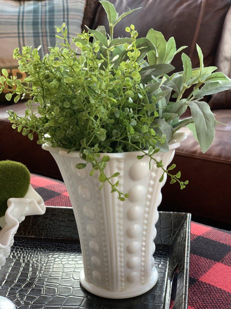spring-decorated-tray-greenery-milk-glass-vase
