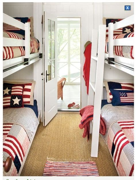 bunk house bunk beds Arericana bedding