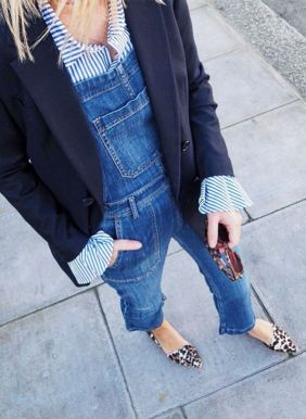 denim dungarees with shirt, blazer and leopard pumps