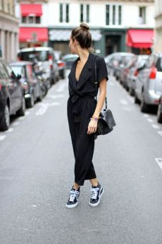 Alex's Closet black jumpsuit with trainers