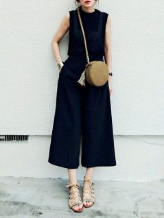Jumpsuit and round bag style inspiration