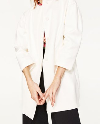 Zara Coat with full sleeves in white