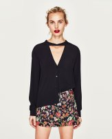 Zara top with bow at the back navy blue