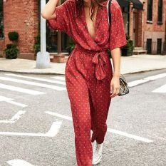 red jumpsuit and white converse