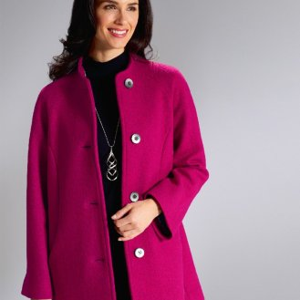 Cosy Pure Wool Coat in Fuchsia