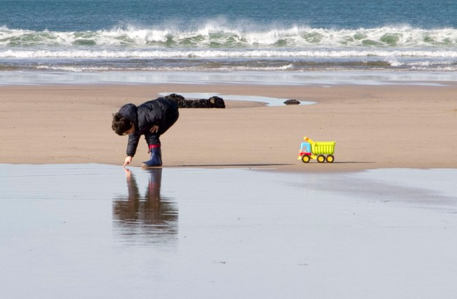 playing at the beach - reflections