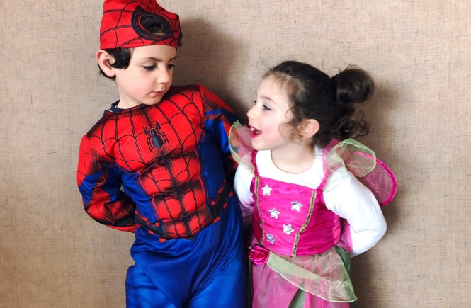 carnaval 2018 spiderman and fairy dress up siblings