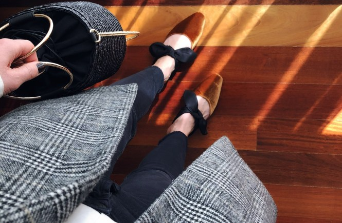 How to wear mules - checked jacket, white shirt, black jeans and basket bag